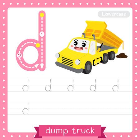 Lettre D minuscules enfants mignons transports colorés ABC alphabet traçage feuille de travail de camion à benne basculante pour les enfants qui apprennent le vocabulaire anglais et l'écriture manuscrite Illustration vectorielle.