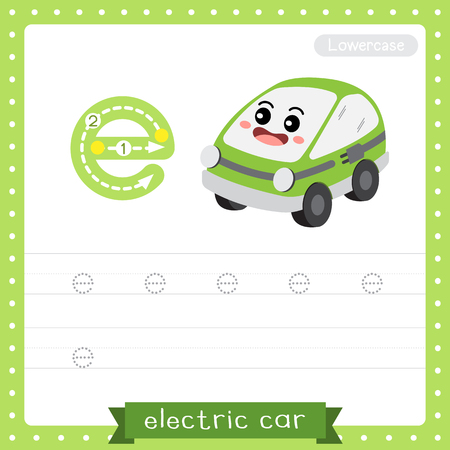 Letter E lowercase cute children colorful transportations ABC alphabet tracing practice worksheet of Electric Car for kids learning English vocabulary and handwriting Vector Illustration.