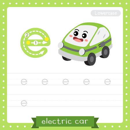 Lettre E minuscules enfants mignons transports colorés ABC alphabet traçage feuille de travail de voiture électrique pour les enfants apprenant le vocabulaire anglais et l'écriture manuscrite Illustration vectorielle.