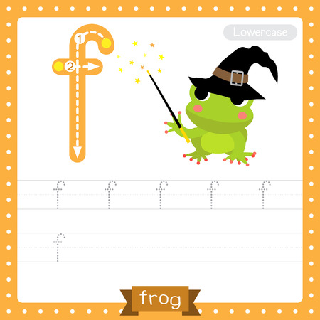Letter F lowercase cute children colorful zoo and animals ABC alphabet tracing practice worksheet of Megical Frog fly for kids learning English vocabulary and handwriting vector illustration.