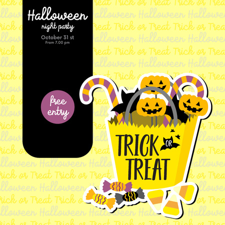 Cute Halloween design concept with trick or treat candy bucket for poster, banner, party invitation, greeting card. Vector Illustration. Vetores