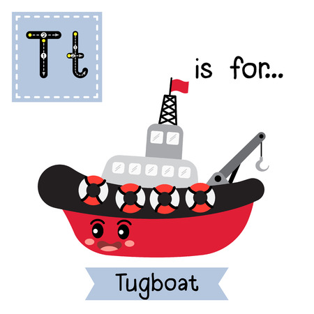 Letter T cute children colorful transportations ABC alphabet tracing flashcard of Tugboat for kids learning English vocabulary Vector Illustration.