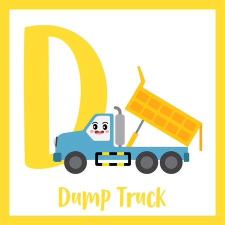 Letter D cute children colorful transportations ABC alphabet flashcard of Dump Truck for kids learning English vocabulary Vector Illustration.