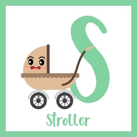 Letter S cute children colorful transportations ABC alphabet flashcard of Stroller for kids learning English vocabulary Vector Illustration. Ilustração