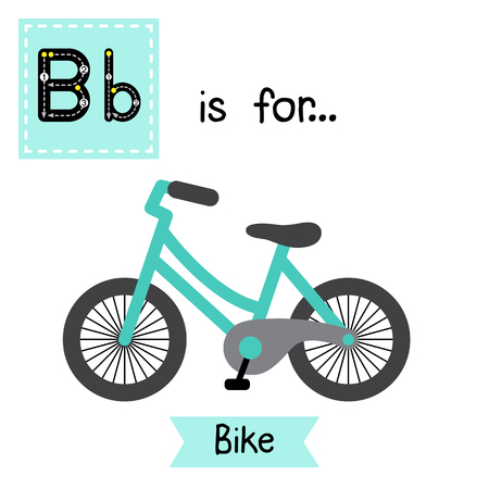 Letter B cute children colorful transportations ABC alphabet tracing flashcard of Bike for kids learning English vocabulary Vector Illustration. Illusztráció