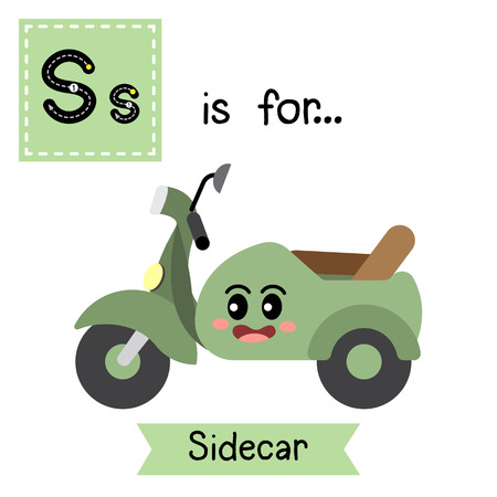 Letter S cute children colorful transportations ABC alphabet tracing flashcard of Sidecar for kids learning English vocabulary Vector Illustration.