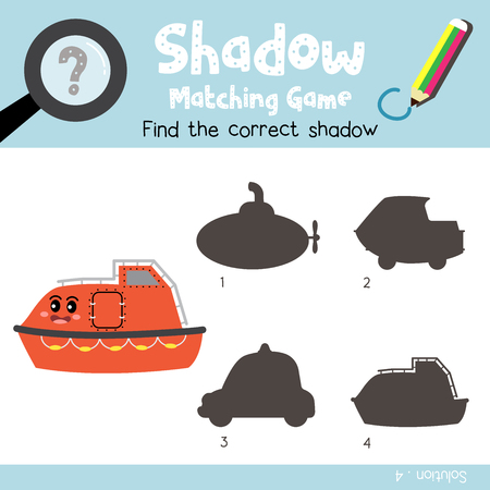 Shadow matching game of Lifeboat cartoon character side view transportations for preschool kids activity worksheet colorful version. Vector Illustration.