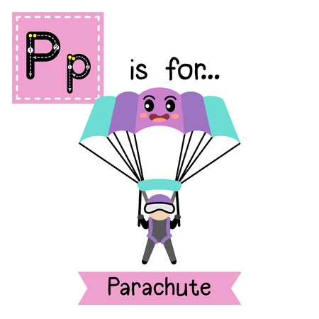 Letter P cute children colorful transportations ABC alphabet tracing flashcard of Parachute for kids learning English vocabulary Vector Illustration.