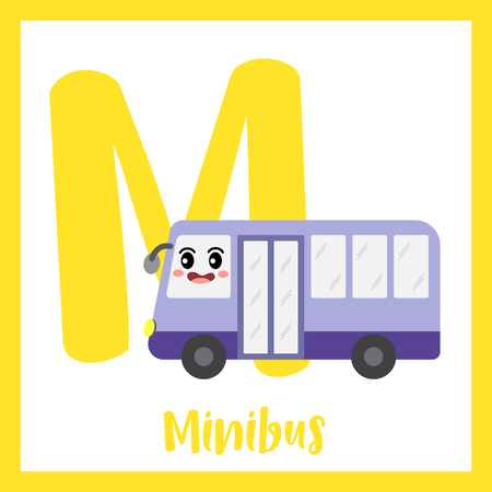 Letter M cute children colorful transportations ABC alphabet flashcard of Minibus for kids learning English vocabulary Vector Illustration. Illustration