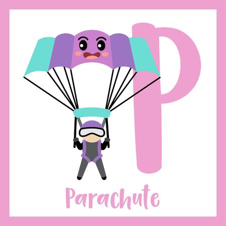 Letter P cute children colorful transportations ABC alphabet flashcard of Parachute for kids learning English vocabulary Vector Illustration. Ilustração