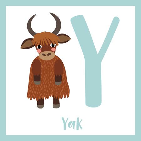 Enfants mignons ABC zoo animal alphabet Y lettre flashcard de Yak debout sur deux jambes pour les enfants qui apprennent le vocabulaire anglais. Illustration vectorielle.
