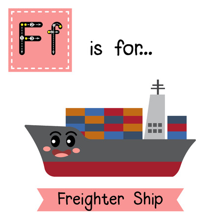 Letter F cute children colorful transportations ABC alphabet tracing flashcard of Freighter Ship for kids learning English vocabulary Vector Illustration.