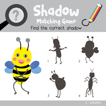 Shadow matching game of standing Bee animals for preschool kids activity worksheet colorful version. Vector Illustration.