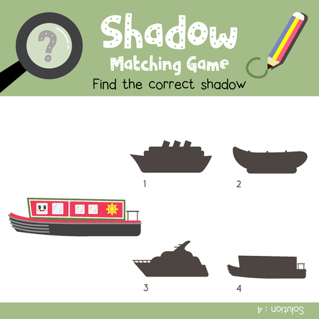 Shadow matching game of Narrowboat cartoon character side view transportations for preschool kids activity worksheet colorful version. Vector Illustration.