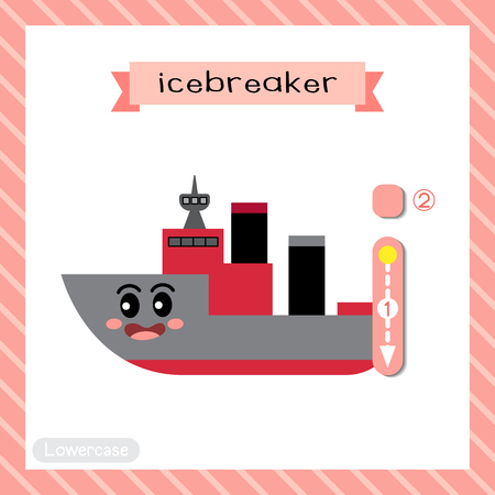 Letter I lowercase cute children colorful transportations ABC alphabet tracing flashcard of Icebreaker for kids learning English vocabulary and handwriting Vector Illustration. Ilustração