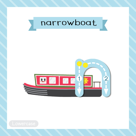 Letter N lowercase cute children colorful transportations ABC alphabet tracing flashcard of Narrowboat for kids learning English vocabulary and handwriting Vector Illustration. Vektoros illusztráció