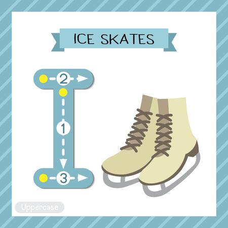 Letter I uppercase cute children colorful transportations ABC alphabet tracing flashcard of Ice Skates for kids learning English vocabulary and handwriting Vector Illustration.