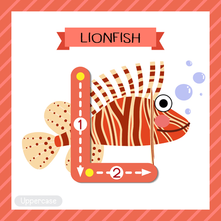 Letter L uppercase cute children colorful zoo and animals ABC alphabet tracing flashcard of Lionfish side view for kids learning English vocabulary and handwriting vector illustration. Illusztráció