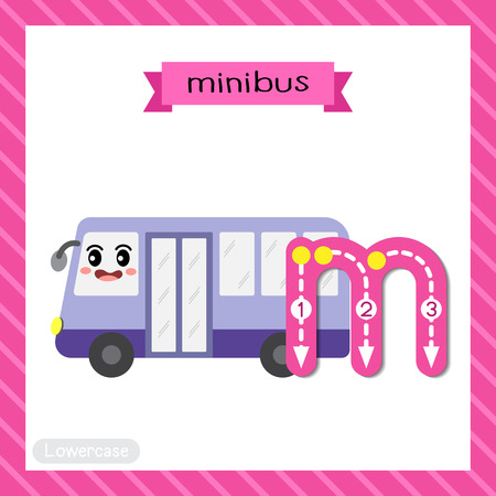 Letter M lowercase cute children colorful transportations ABC alphabet tracing flashcard of Minibus for kids learning English vocabulary and handwriting Vector Illustration. Illustration