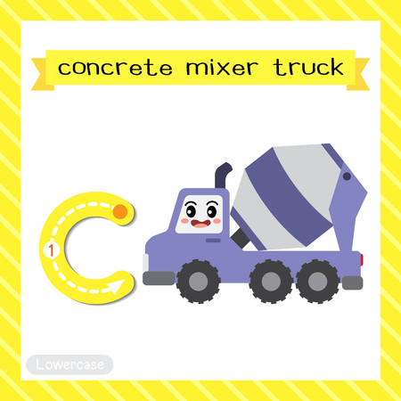 Letter C lowercase cute children colorful transportations ABC alphabet tracing flashcard of Concrete Mixer Truck for kids learning English vocabulary and handwriting Vector Illustration.