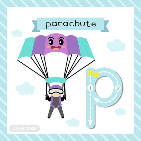 Letter P lowercase cute children colorful transportations ABC alphabet tracing flashcard of Parachute for kids learning English vocabulary and handwriting Vector Illustration. Ilustração