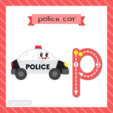 Letter P lowercase cute children colorful transportations ABC alphabet tracing flashcard of Police Car for kids learning English vocabulary and handwriting Vector Illustration.