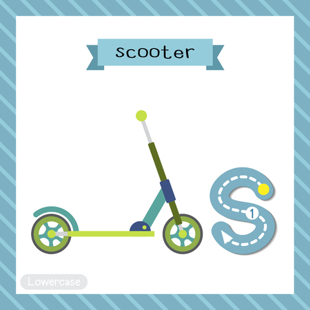 Letter S lowercase cute children colorful transportations ABC alphabet tracing flashcard of Scooter for kids learning English vocabulary and handwriting Vector Illustration. Ilustração