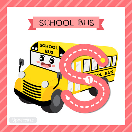 Letter S uppercase cute children colorful transportations ABC alphabet tracing flashcard of School Bus for kids learning English vocabulary and handwriting Vector Illustration. Ilustração