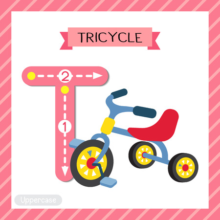 Letter T uppercase cute children colorful transportations ABC alphabet tracing flashcard of Childrens Tricycle for kids learning English vocabulary and handwriting Vector Illustration. Illustration