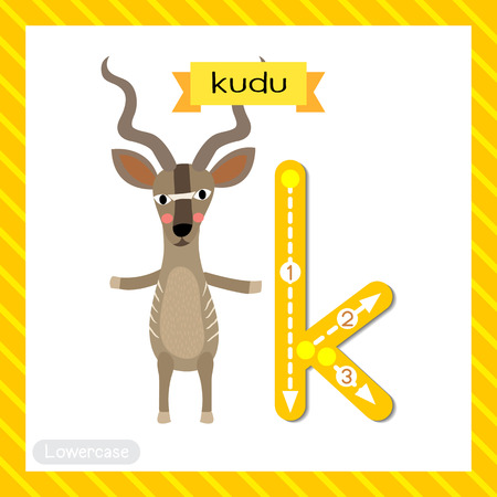 Letter K lowercase cute children colorful zoo and animals ABC alphabet tracing flashcard of Kudu standing on two legs for kids learning English vocabulary and handwriting vector illustration. Ilustración de vector