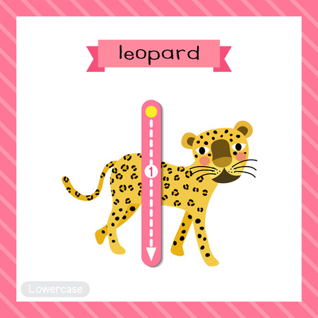 Letter L lowercase cute children colorful zoo and animals ABC alphabet tracing flashcard of Walking Leopard for kids learning English vocabulary and handwriting vector illustration. Vektorové ilustrace