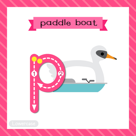 Letter P lowercase cute children colorful transportations ABC alphabet tracing flashcard of Paddle Boat for kids learning English vocabulary and handwriting Vector Illustration.