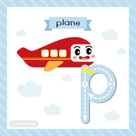 Letter P lowercase cute children colorful transportations ABC alphabet tracing flashcard of Plane for kids learning English vocabulary and handwriting Vector Illustration.