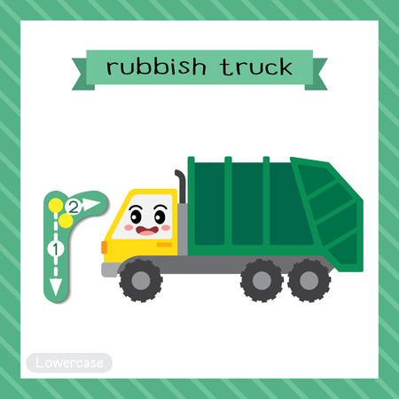 Letter R lowercase cute children colorful transportations ABC alphabet tracing flashcard of Rubbish Truck for kids learning English vocabulary and handwriting Vector Illustration. Vector Illustration