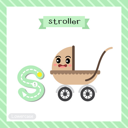 Letter S lowercase cute children colorful transportations ABC alphabet tracing flashcard of Stroller for kids learning English vocabulary and handwriting Vector Illustration.