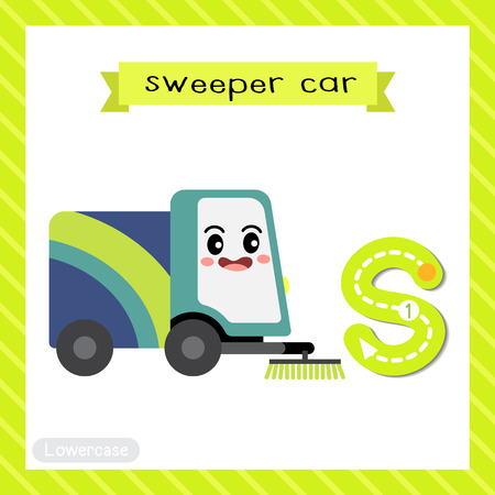 Letter S lowercase cute children colorful transportations ABC alphabet tracing flashcard of Sweeper Car for kids learning English vocabulary and handwriting Vector Illustration.