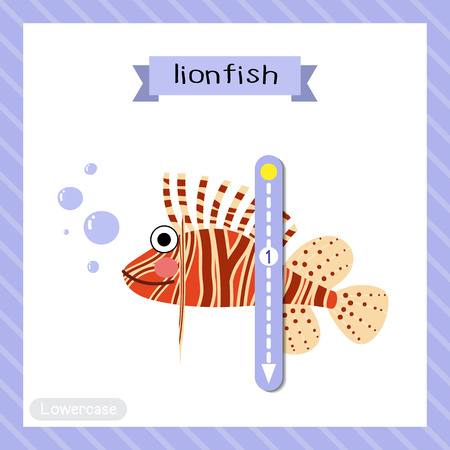Letter L lowercase cute children colorful zoo and animals ABC alphabet tracing flashcard of Lionfish side view for kids learning English vocabulary and handwriting vector illustration.