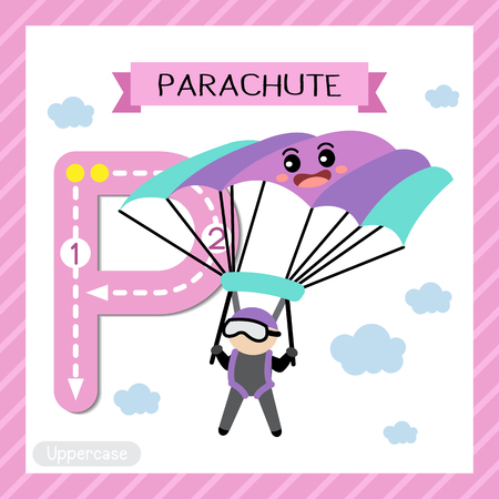Letter P uppercase cute children colorful transportations ABC alphabet tracing flashcard of Parachute for kids learning English vocabulary and handwriting Vector Illustration.
