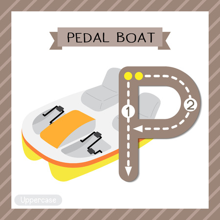 Letter P uppercase cute children colorful transportations ABC alphabet tracing flashcard of Pedal Boat for kids learning English vocabulary and handwriting Vector Illustration.