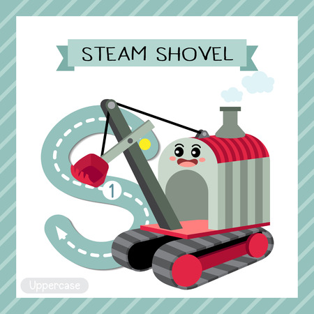 Letter S uppercase cute children colorful transportations ABC alphabet tracing flashcard of Steam Shovel for kids learning English vocabulary and handwriting Vector Illustration. Vettoriali