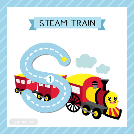 Letter S uppercase cute children colorful transportations ABC alphabet tracing flashcard of Steam Train for kids learning English vocabulary and handwriting Vector Illustration.