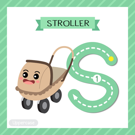 Letter S uppercase cute children colorful transportations ABC alphabet tracing flashcard of Stroller for kids learning English vocabulary and handwriting Vector Illustration. Ilustração