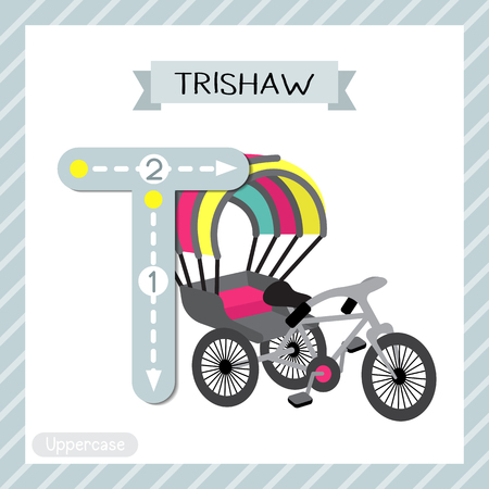 Letter T uppercase cute children colorful transportations ABC alphabet tracing flashcard of Trishaw for kids learning English vocabulary and handwriting Vector Illustration.