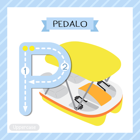 Letter P uppercase cute children colorful transportations ABC alphabet tracing flashcard of Pedalo for kids learning English vocabulary and handwriting Vector Illustration.