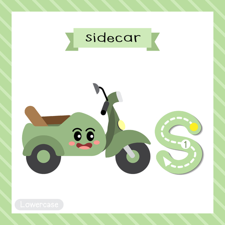 Letter S lowercase cute children colorful transportations ABC alphabet tracing flashcard of Sidecar for kids learning English vocabulary and handwriting Vector Illustration. Illustration