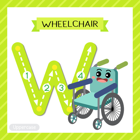 Letter W uppercase cute children colorful transportations ABC alphabet tracing flashcard of Wheelchair for kids learning English vocabulary and handwriting Vector Illustration.