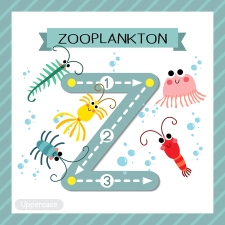 Letter Z uppercase cute children colorful zoo and animals ABC alphabet tracing flashcard of Zooplankton for kids learning English vocabulary and handwriting vector illustration. Illustration