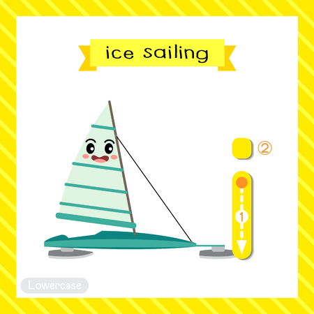 Letter I lowercase cute children colorful transportations ABC alphabet tracing flashcard of Ice Sailing for kids learning English vocabulary and handwriting Vector Illustration. Ilustração
