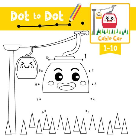 Dot to dot educational game and Coloring book of cute Cable Car cartoon character side view transportations for preschool kids activity about learning counting number 1-10 and handwriting practice worksheet. Vector Illustration.