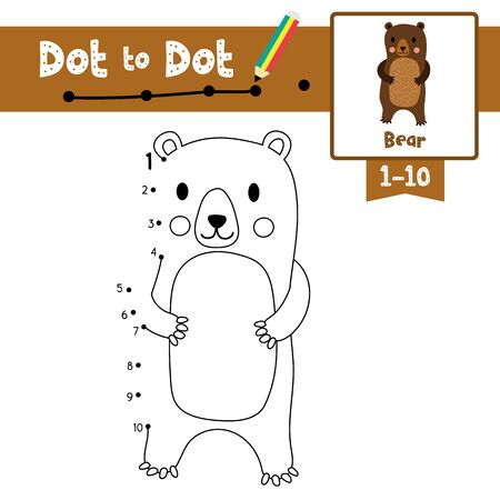Dot to dot educational game and Coloring book of Standing Bear animals cartoon character for preschool kids activity about learning counting number 1-10 and handwriting practice worksheet. Vector Illustration.